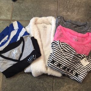 Bundle of size 12 Justice shirts & sweater